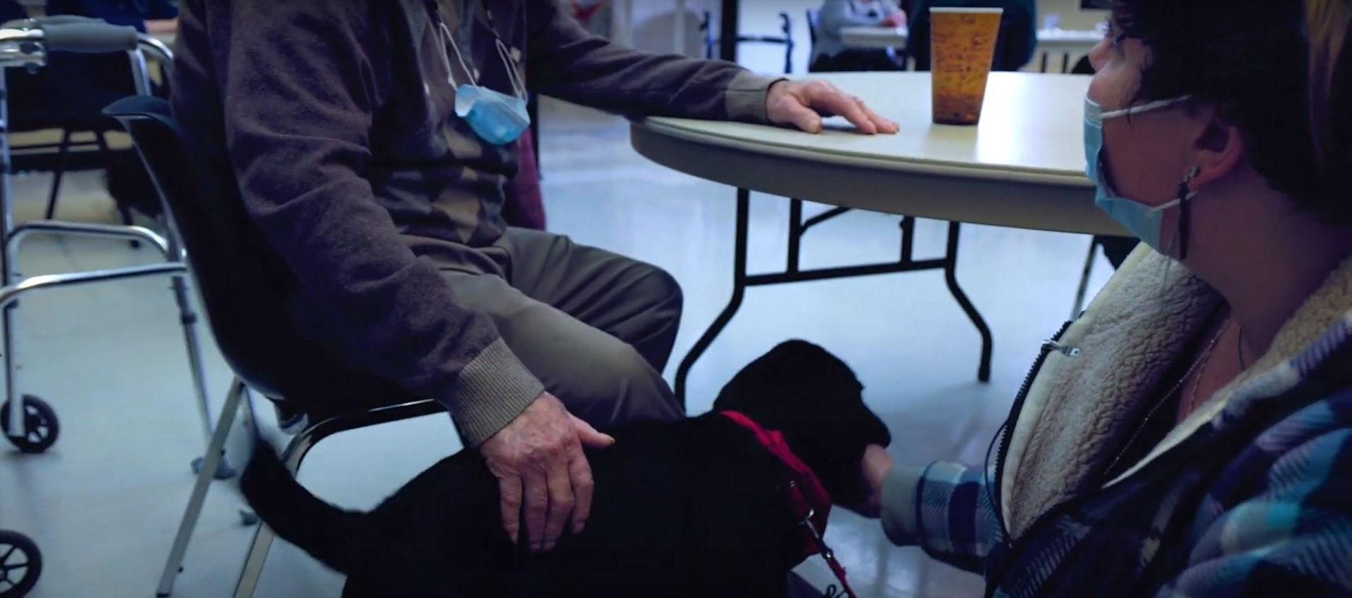 Claudine avec Cats, le chien, représentante chez Mira.